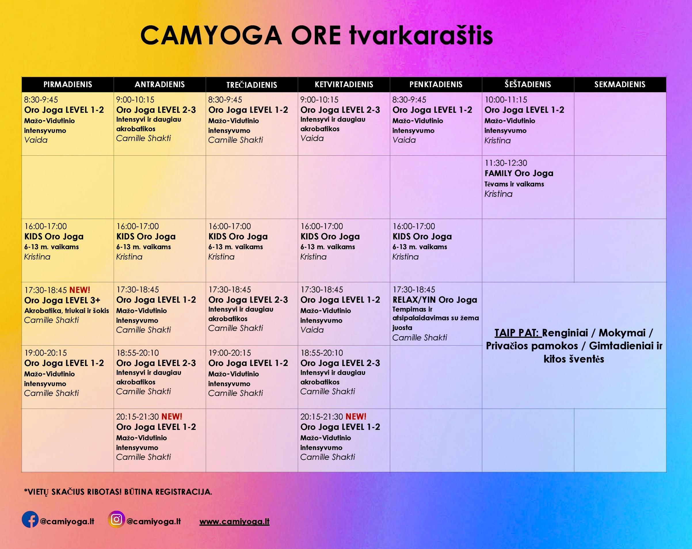 oro joga tvarkaraštis pamokos užsimėmimai